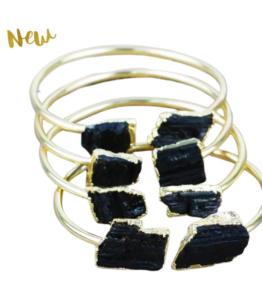 Back din Stock! VACKRALIV YOGA Balancing Bracelet Black TOURMALINE stones, 24 k real gold plated