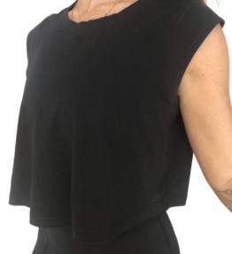 New! VACKRALIV YOGA DRESSY Top Half arm, black