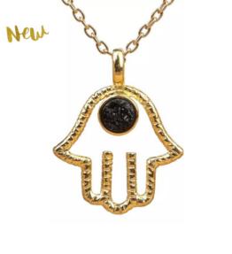 New! VACKRALIV YOGA Dressy HAMSA HAND Necklace with TOURMALINE stone