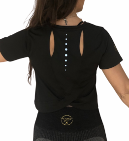 New! VACKRALIV YOGA DRY-FIT TOP OPEN BACK, black