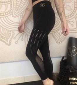 Sale! VACKRALIV YOGA PERFECT FIT SEAMLESS LEGGINGS THIN LACE, black