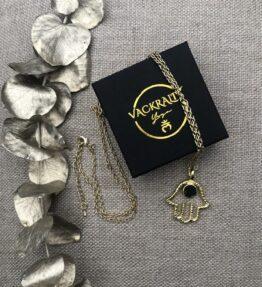 VACKRALIV YOGA Dressy HAMSA HAND Necklace with TOURMALINE stone