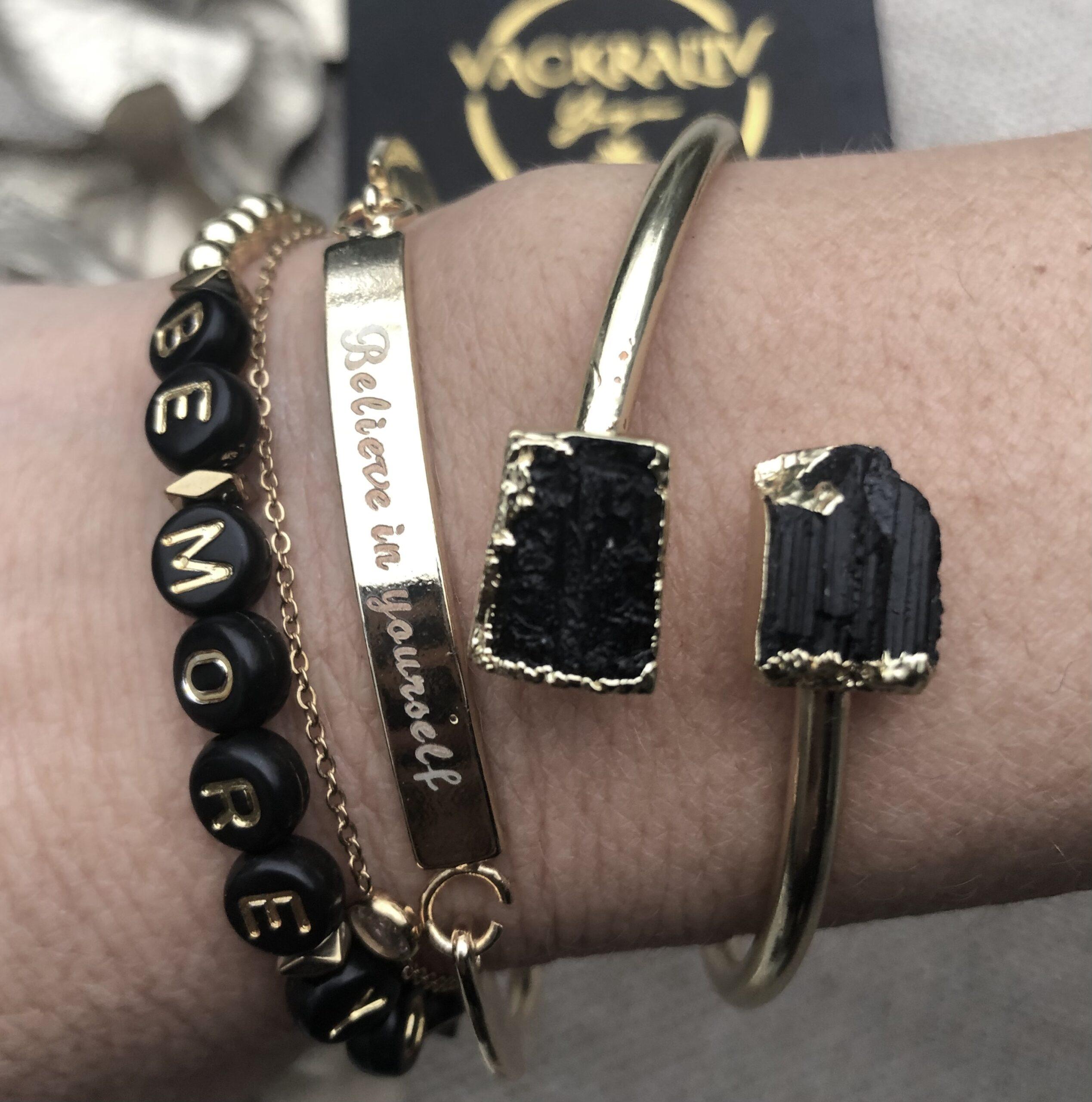 Black Tourmaline 24k gold plated bangle