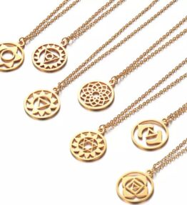 VACKRALIV YOGA 7 CHAKRA SYMBOLS Necklace, gold