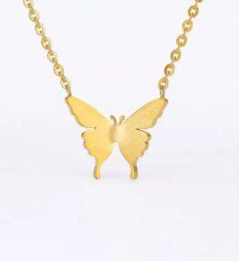 VACKRALIV YOGA Butterfly Necklace, gold