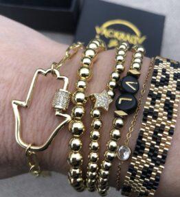 New! VACKRALIV YOGA Bracelet Hamsa with Cubic Zircon, gold