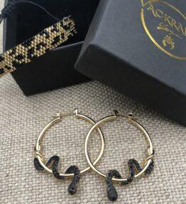 Back in Stock! VACKRALIV YOGA Dressy Cobra Power Hoop Earrings, gold