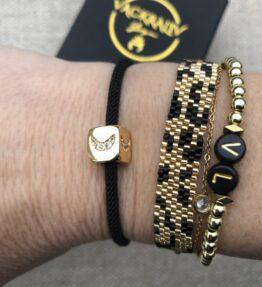 New! VACKRALIV YOGA Bracelet Moon Cubic Zircon, black/gold