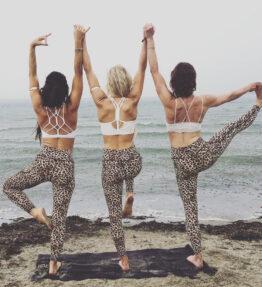 New Season! VACKRALIV YOGA DRY-FIT SKIN DRESSY LEGGINGS LEO, leopard/beige