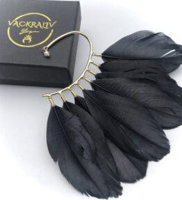 New Season! VACKRALIV YOGA Dressy Boho Feather Earring, black/gold