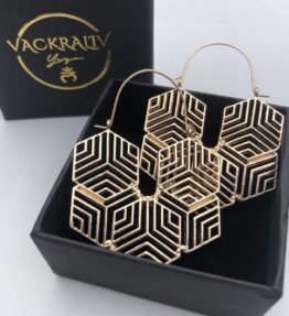 New Season! VACKRALIV YOGA Dressy Earrings Boho geometric star, gold