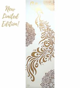 New Season! LIMITED EDITION! VACKRALIV YOGA LUXURY PU PEACOCK OFF-WHITE GOLD YOGAMATTA, 4mm, 183 cm & Yogaväska