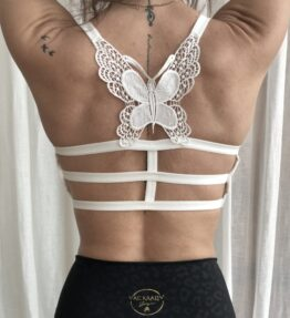 New Season! VACKRALIV YOGA Yoga&Lingerie BH TOP BUTTERFLY, white