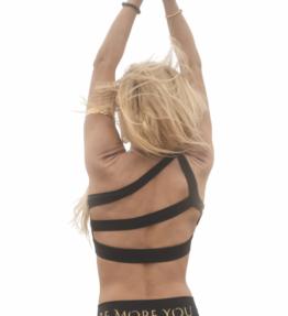 New! VACKRALIV YOGA DRESSY DRY-FIT BH One Shoulder mesh, black
