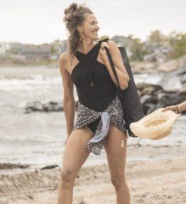 New Season! VACKRALIV YOGA Yoga&Swim Dressy Swimsuit cross basic, black
