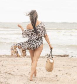 New Season! VACKRALIV YOGA Yoga&Swim Dressy KIMONO long, leopard