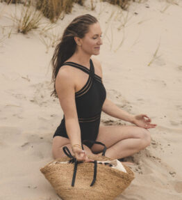 New Season! VACKRALIV YOGA Yoga&Swim Dressy Swimsuit Cross Mesh, black