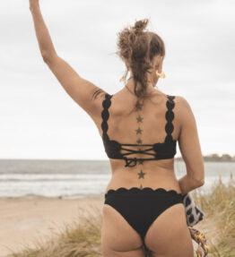New Season! VACKRALIV YOGA SWIM&YOGA Bikini Wawy Top, black