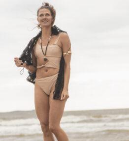 SALE! VACKRALIV YOGA Yoga&Swim Dressy Swimsuit open front, gold/beige