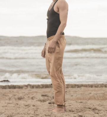 New Season! VACKRALIV YOGA&MEN Comfy Pants, beige/rost