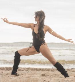 New Season! VACKRALIV YOGA Yoga&Swim Dressy Swimsuit Laces sides, black