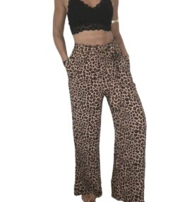 SALE! VACKRALIV YOGA Dressy Wide Pants, leopard