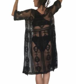 New Season! VACKRALIV Yoga&Swim Dressy KIMONO Lacework wide, black
