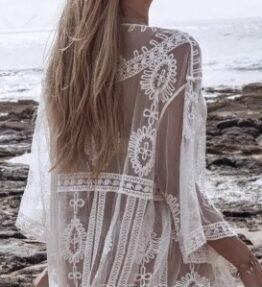 New Season! VACKRALIV Yoga&Swim Dressy KIMONO Lacework wide, white