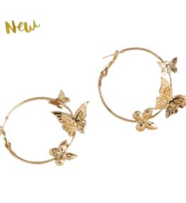 New! VACKRALIV YOGA Dressy Round Earrings Butterfly, gold