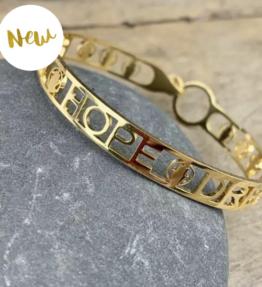 New! VACKRALIV YOGA Bracelet Hamsa - Faith Hope Dream, real gold plated