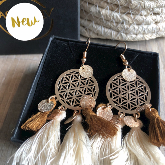 New! VACKRALIV YOGA Dressy Mandala BOHO Cotton Earrings, natur/brown/gold