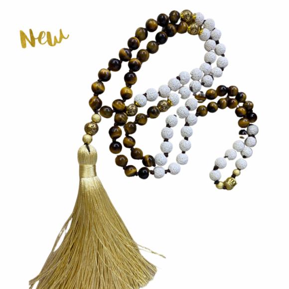 New! VACKRALIV YOGA Mala Strength Lava & Tiger Eye, 108 stones, brown/natur