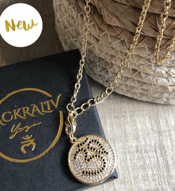 New! VACKRALIV YOGA Dressy AUM Necklace cubic zirconia, gold