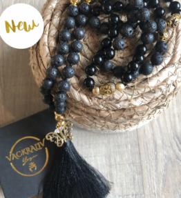 New! VACKRALIV YOGA Mala BUTTERFLY Lava & Jade, 108 stones, black
