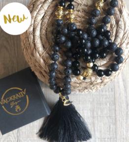 New! VACKRALIV YOGA Mala MOON YIN Lava & Jade, 108 stones, black