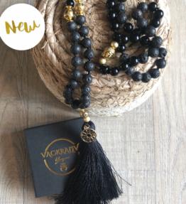 New! VACKRALIV YOGA Mala SUN YANG Lava & Jade, 108 stones, black (kopia)