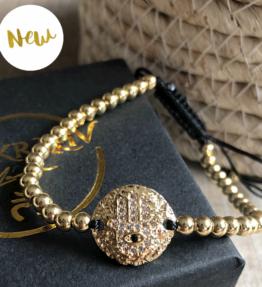 New! VACKRALIV YOGA Dressy Handmade Bracelet HAMSA, gold/svart & cubic zirconias