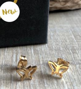 New! VACKRALIV YOGA Dressy BUTTERFLY Small Earrings, gold