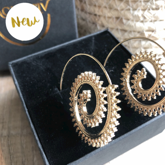 New! VACKRALIV YOGA Dressy BOHO SUN Brass Hoop Earrings, gold
