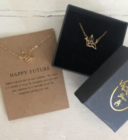 New! VACKRALIV YOGA Happy Future Crane Necklace, gold