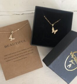 New! VACKRALIV YOGA Beautiful Butterfly Necklace, gold