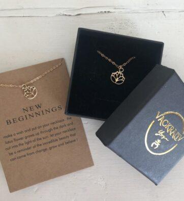 New! VACKRALIV YOGA New Beginnings Lotus Necklace, gold