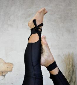New Gold Soul! VACKRALIV YOGA DRESSY DRY-FIT Leggings KNEELOVE Laces, black